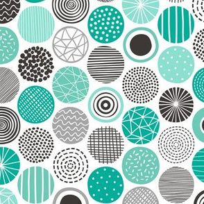 Dots Geometrical Patterned Black&White Mint Green