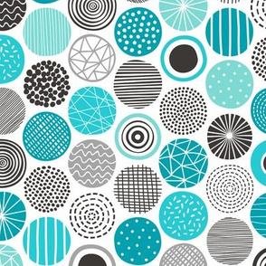 Dots Geometrical Patterned Black&White Aqua Blue