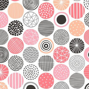 Dots Geometrical Patterned Black&White Pink Peach