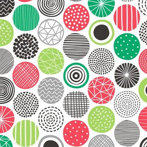 Dots Geometrical Christmas Xmas Black&White Red Green