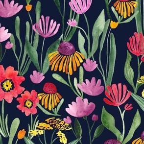 Watercolor flower field in black - BIG