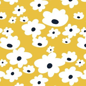 Sweet daisies in mustard yellow - medium