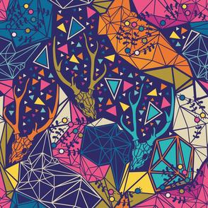 Geometric Deer Skull Neon