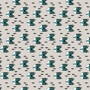 fox // geometric fox head grey blue turquoise fox kids railroad