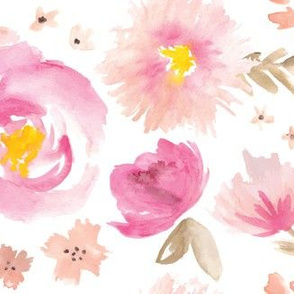 Peony Garden in Pink Watercolor Floral