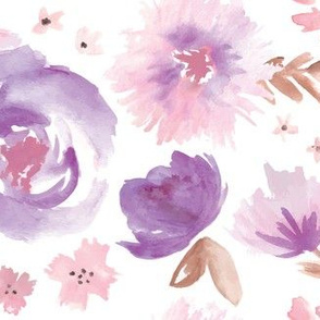 Peony Garden in Violet Watercolor Floral