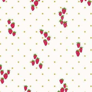 Wild strawberries in cream and gold dots