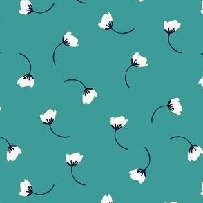 Tumbling flower in aqua