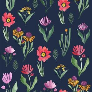 Watercolor flower study in navy