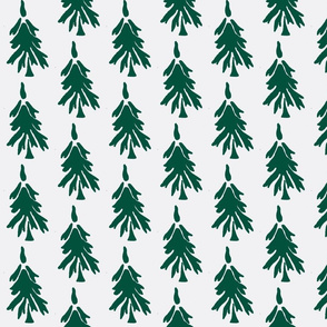 Forest Trees in green and white