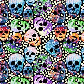 abstract skulls & flowers