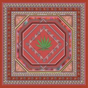 Hemp Persian Carpet Rust 8x8