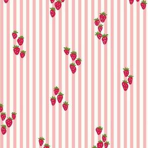 Wild strawberries in vintage pink stripes