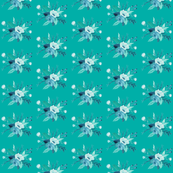 Turquoise Watercolor Mini Floral
