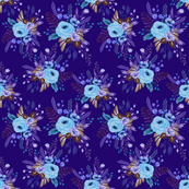 Floral Cerulean, Bronze and Royal Blue