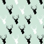 black white mint deer