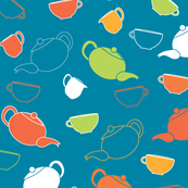 Teapots_and_cups_on_Blue