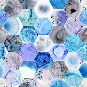 Marbled Hexagons - Blues