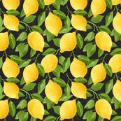 Watercolor Lemons Pattern on Black Background