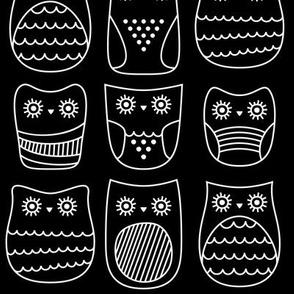 bright eyed owls reversed » black + white no.3