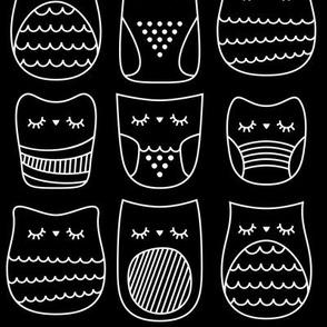 sleepy night owls reversed » black + white no.3