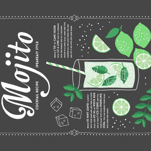 Mojito cocktail tea towel