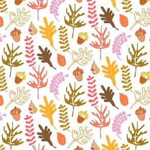 Falling Leaves with Acorns in Autumn