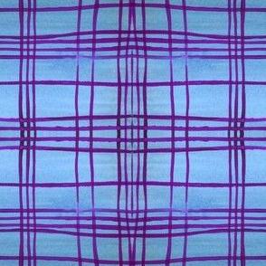 blue purple plaid watercolor