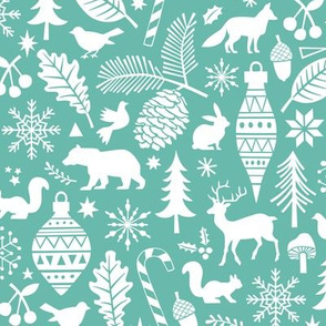 Woodland Forest Christmas Doodle with Deer,Bear,Snowflakes,Trees, Pinecone in Mint Green