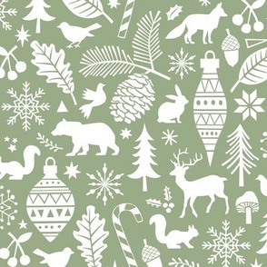 Woodland Forest Christmas Doodle with Deer,Bear,Snowflakes,Trees, Pinecone in Green
