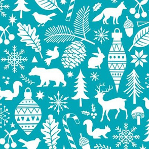 Woodland Forest Christmas Doodle with Deer,Bear,Snowflakes,Trees, Pinecone in Aqua Blue