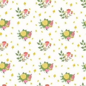 Flower clusters in off white - MEDIUM