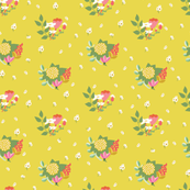 Flower clusters in chartreuse yellow