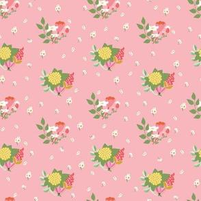 Flower clusters in soft pink - MEDIUM