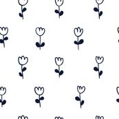 Little tulips in navy