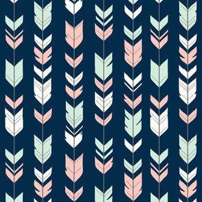 arrow Feathers- navy/coral/grey-ch