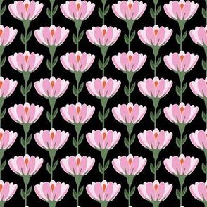 Vine floral in pink and black