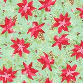 Tinsel Nouveau: Poinsettias Green