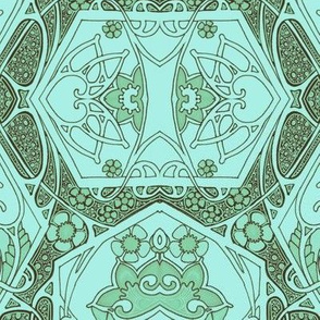 Art Nouveau Blues (and olive green)