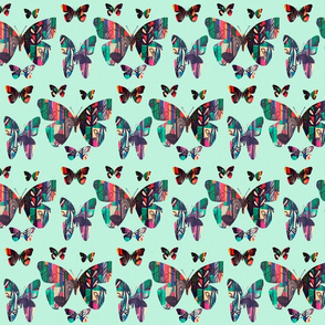 Anthro Inspired Butterfly Pattern on Mint Green
