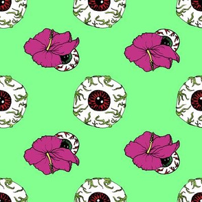Hibiscus Eyeball Repeat in Zombie Green