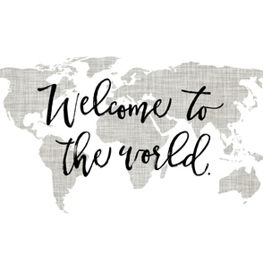 Welcome To The World Baby Blanket // Linen Pantone 169-1