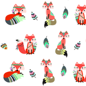 Cute tribal foxes