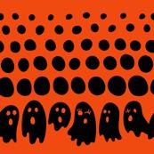Snowing Ghosts Orange on Black