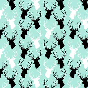 custom black white turquoise deer