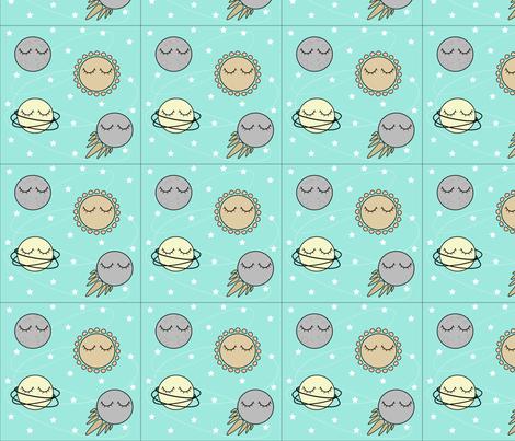 Sleepy solar system fabric amy leighestcourt spoonflower for Solar system fabric
