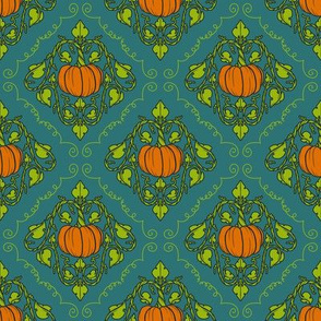 Pumpkin Damask - Blue with lines