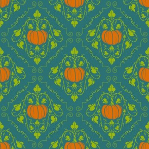 Pumpkin Damask - Blue without lines