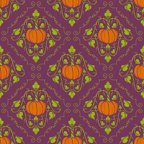 Pumpkin Damask - Purple without lines