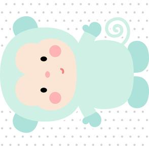monkey mint front mod baby » plush + pillows // one yard